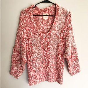 Anthro Geranium Confetti Pink Pullover Sweater